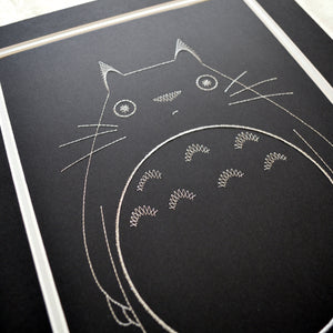 My Neighbour Totoro Inspired Card Embroidery Kit (Black Card)