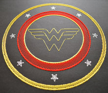 Load image into Gallery viewer, Wonder Woman Inspired Card Embroidery Kit (Black Card)