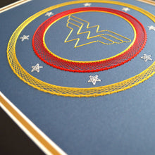 Load image into Gallery viewer, Wonder Woman Inspired Card Embroidery Kit (Blue Card)
