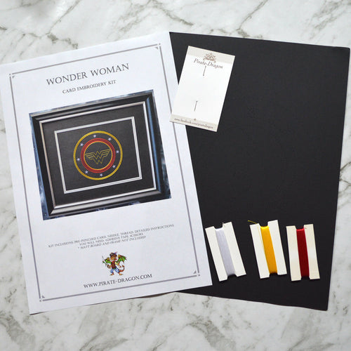 Wonder Woman Inspired Card Embroidery Kit (Black Card)