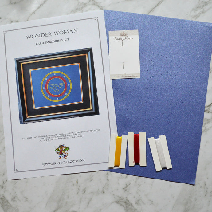 Wonder Woman Inspired Card Embroidery Kit (Blue Card)