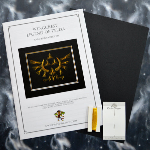 Legend of Zelda Card Embroidery Kit on Black Card