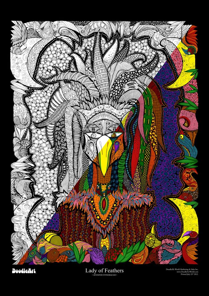 Lady of Feathers Doodle Art POSTER KIT (24 x 34 inch)