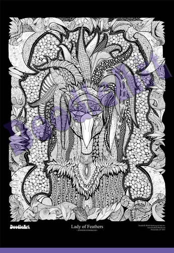 Lady of Feathers Doodle Art POSTER ONLY (24 x 34 inch)