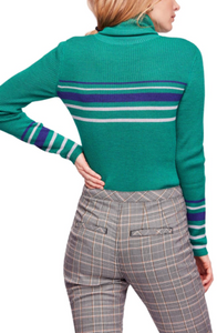 Free People Turtleneck Sweater Top Green Striped - The Denim House