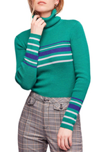 Load image into Gallery viewer, Free People Turtleneck Sweater Top Green Striped - The Denim House