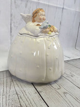 "Load image into Gallery viewer, Chubby Baby Angel Cookie Jar 9.5"" Tall Christmas Cookies Blue Bird Crazing Figi - The Denim House"