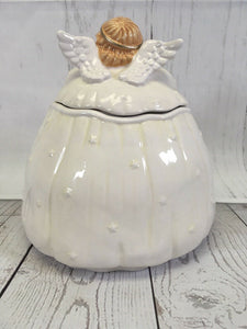 "Chubby Baby Angel Cookie Jar 9.5"" Tall Christmas Cookies Blue Bird Crazing Figi - The Denim House"