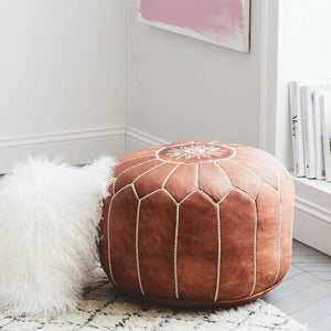 Pair Of MOROCCAN LEATHER POUF FOOTSTOOL HANDMADE OTTOMAN POUF - The Denim House