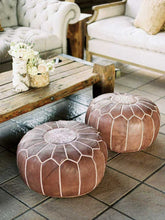 Load image into Gallery viewer, Pair Of MOROCCAN LEATHER POUF FOOTSTOOL HANDMADE OTTOMAN POUF - The Denim House