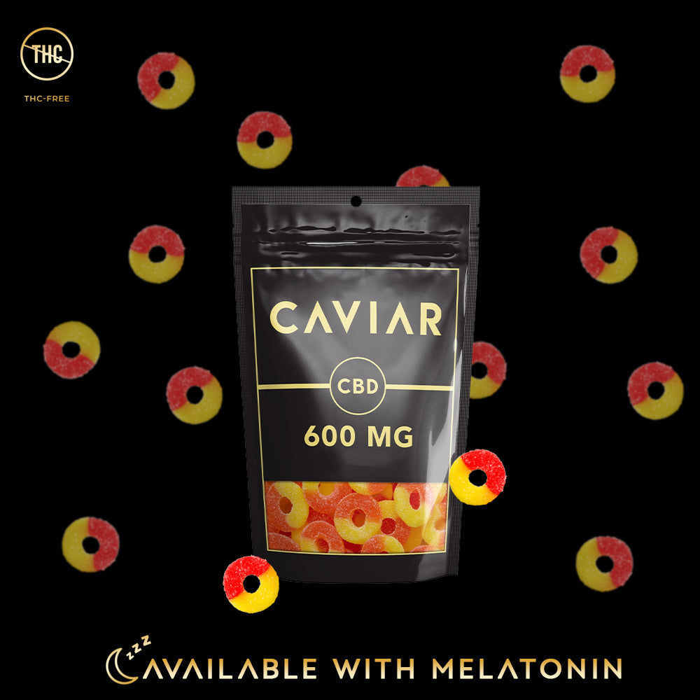 caviar peach rings cbd gummies 600mg with melatonin