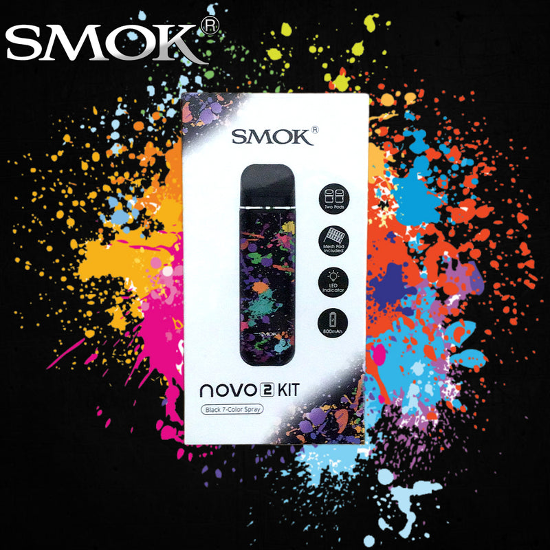 smok novo 2 kit 7 color spray black