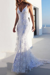 Sexy V Neck White Wedding Fishtail Evening Dress