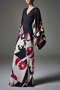 Elegant Fashion Slim Floral V Collar Flare Long Sleeve High Waist Maxi Evening Dress