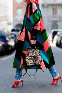 Color Block Stitching Printed Coat