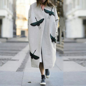 Casual Crane Pattern Loose Long Overcoat