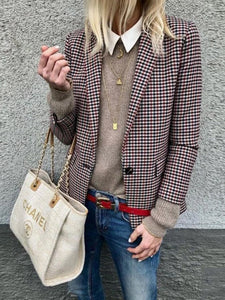 Trench Check Coat Stylish Plaid Long-Sleeve Blazers