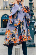 Fashion Floral Pattern Printed Long Sleeve Coat
