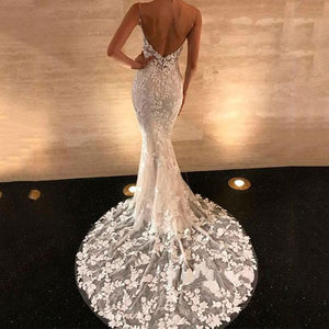Sexy V-Collar Lace Gown Evening Dress