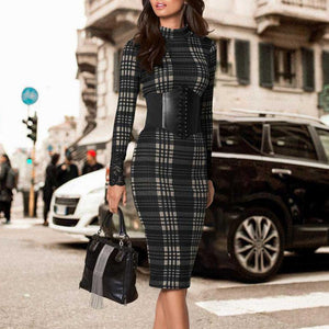 Autumn And Winter Irregular Plaid Small Neckline Bag Hip Skirt Bodycon Dress