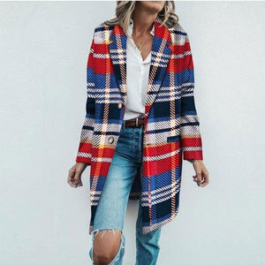Fashion Lapel Collar Loose Colorful Woolen Long Coat