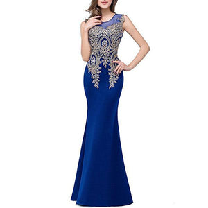 Round Neck Decorative Lace See-Through Evening Dress