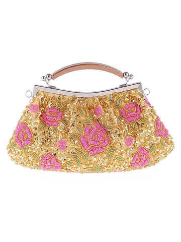 Gold Glitter Floral Evening Clutch Bag