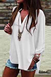 V Neck Plain Long Sleeve Blouses