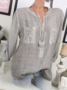 V Neck Loose Plain Blouses