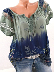Summer Floral Printed  Short Sleeve Blouses