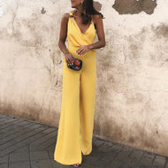 Fashion Yellow Sleeveless Jumpsuit