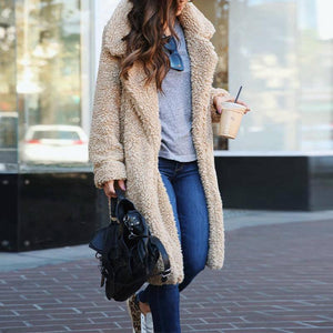 Fashion Lapel Collar Long Sleeve Faux Fur Casual Coats