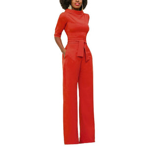 Princegirl Sexy Round Neck Pure Colour Jumpsuits