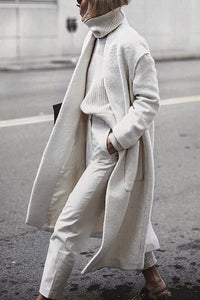 Fashion Chic Plain Loose Woolen Long Coat