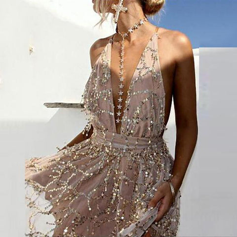 Deep V-Neck Backless Glitter Lace Evening Dresses