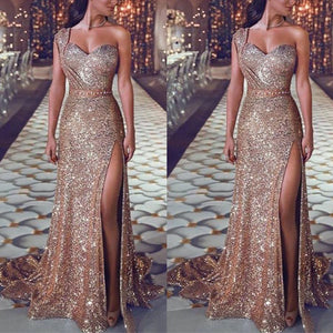 Sexy One Shoulder Sequins Evening Dress