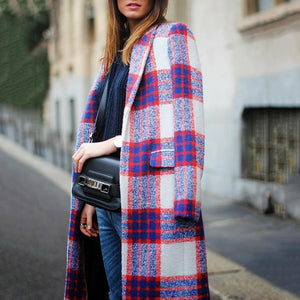 Vintage Lapel Collar Red Blue Check Woolen Long Coat