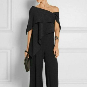 Princegirl Fashion Off-Shoulder   Pure Colour Jumpsuit