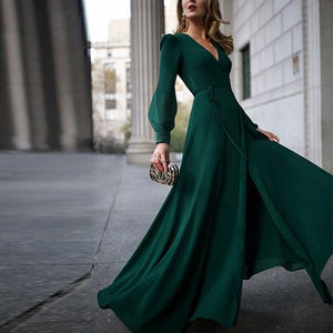 Flash Sale V-Neck Long-Sleeve Posed Maxi Dress