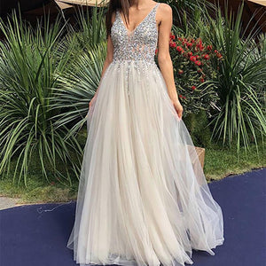 Fashion Sequins V Neck Bare Back Evening Dress