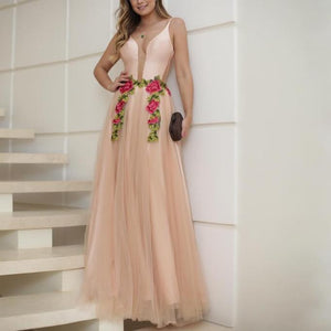 Sexy Fashion V-Neck Sling Vacation Floral Maxi Evening Dress