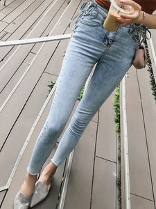 Fashion High-Waist Pure Color Jeans