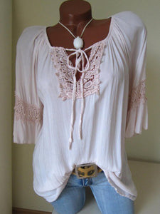 V Neck  Lace Up  Blouses