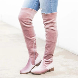 Euramerican Style Side Zipper Pure Color Thigh-High Boots