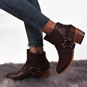 Women's Fashion Casual Solid Color Round Head Ankle Boots