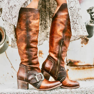 Vintage Side Zip Round Head Fashion Boots