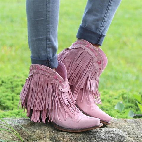 Women's Vintage Embroidered Fringe Pointed Boots