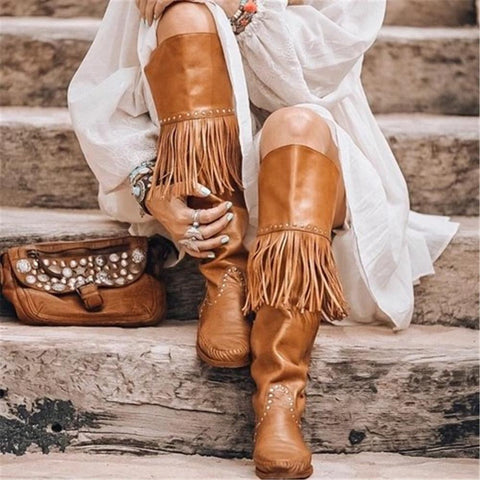 Women's Vintage Tassel Studded Solid Color Boots