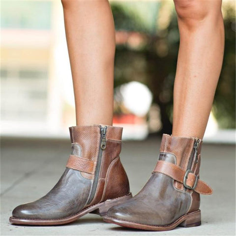 Euramerican Mixed Color Belt Buckle Low-Heel Ankle Boots