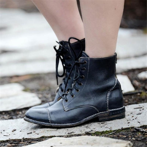Euramerican Pure Color Lace-Up Low-Heel Ankle Boots